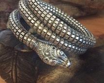 RESERVED Rare Beautiful Art Deco Art Nouveau Sterling Silver Spiral Wrap Snake Vintage Bracelet Antique Sanke Jewelry