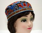 Gorgeous skullcap, Handmade cap duppi, cap, hat, header, suzani cap, blue, black, cap, carpet cap, silk embroidery suzani hat