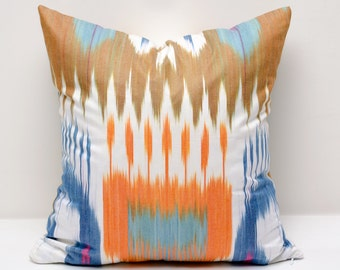 15x15 brown blue orange ikat pillow cover, brown blue orange pillows, brown blue ikats, pillow, throw pillow, accent pillow