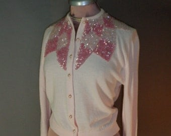 50s Sweater . Vintage 1950s sweater . PINK SEQUIN CARDIGAN. sequin orlon pin up . Star of the Show sweater