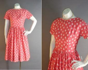 50s dress 1950s vintage LANZ CORAL PINK white flower print cotton pique full skirt dress