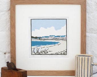Hand Printed Deckchairs at Exmouth Linocut Print