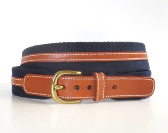 Vintage Dooney and Bourke Navy and Leather Belt // Size 42