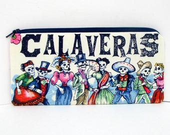 Zippered Pencil Pouch, Day of the Dead Skull Dance in Blue, Baile de Calaveras