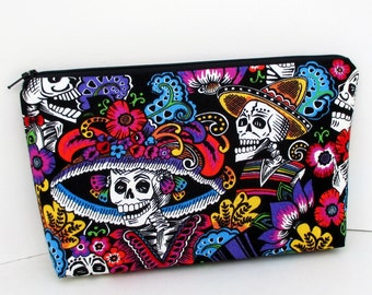 Zippered Make Up Bag, Catrina Chiquita, Day of the Dead Skeleton Skulls, Cosmetic Bag Pouch