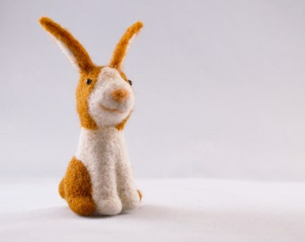 Buster the bunny, needle felted animal, art fiber sculpture