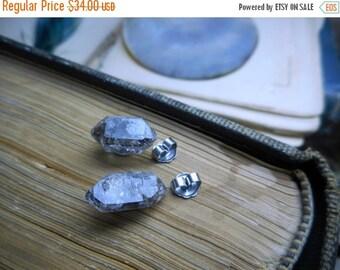 Gossamer . Generous Rough Raw Tibetan Black Phantom Quartz Specimens & Titanium Post earrings Ghost Crystal Stud Earrings. Stone Temples