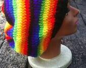 Black rainbow rasta hippie slouch beanie tam hat