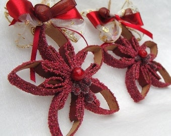 Star Ornament, Christmas Ornament, Snowflake Ornament, Burgundy Star, Tree Ornament, Tree Decoration, Table Decoration, Recycled Parper