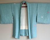 1950s HAORI KIMONO Japanese Cropped Jacket BOHO Pale Blue