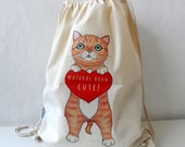 Cat Bag - Cotton Backpack, Canvas Tote, Cat Tote, Cat bag, drawstring backpack, gift for cat lovers