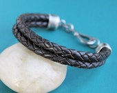 Mens Brown Leather Bracelet Double Braid, Sterling Silver Clasp