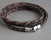 Mens Triple Wrap Bracelet, Brown Leather Braid, Sterling Silver Clasp