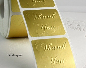 """Square Gold Thank You Seals/Stickers, 1.5"""", Matte Gold, Square Thank you Stickers, Matte Gold Seals, Cards & Stationery, Gold Envelope Seals"""