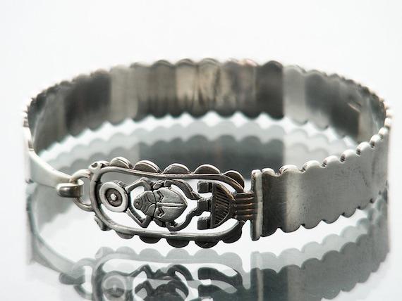 Vintage Bracelet | Egyptian Sterling Silver Bangle | Sterling Silver Scarab Bangle | Hieroglyphic Egyptian Revival Bracelet | 925 Silver