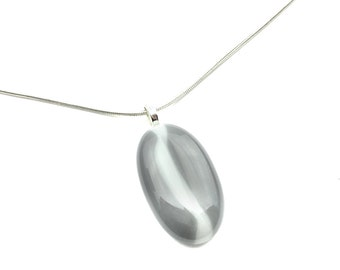 Pendant Necklace, Gray & White Stained Glass, Oval