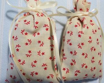 "Patriotic Ivory 3""X2"" Sachet-'Raspberry' Fragrance-Red Star Unisex Holiday Sachet-Ivory Ribbon-Cotton Fabric Herbal Sachets-Cindy's Loft-228"