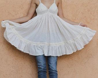 Short Cotton dress, Beach wedding dress, crochet cotton dress, sexy beach tunic,  Cottage chic dress, Bohemian chic dress, Designer dress