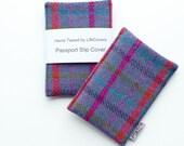 HARRIS TWEED Passport Slip cover, passport wallet, credential wallet, teal and pink tartan, gift for travellers