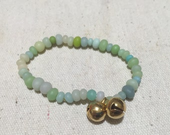 handmade polymer clay bead bracelet in Seafoam with two bells