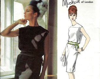 1960's Vogue Couturier Design No. 1465 by Michael of London : Mod Two Piece Dress Bias Cut Blouson Bodice with Narrow Skirt  Bust 32