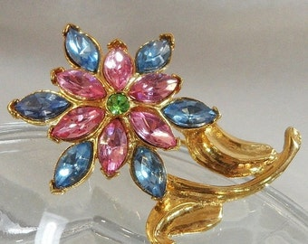 FALL SALE Vintage Flower Brooch. Pink Blue. Green. Rhinestones