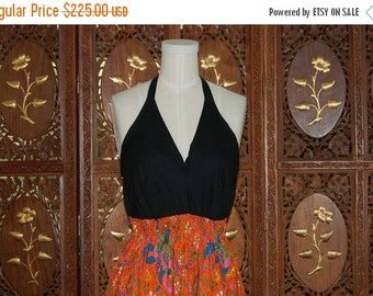 ON SALE Vintage 1970s  Signed Cotton Batik Print Halter Dress Sz 6