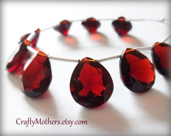 25% SALE! (Code: 25OFF25) MOZAMBIQUE Red Garnet Quartz Faceted Heart Cut Stone Briolettes Trio, Set of 3, 12mm x 14mm, merlot wine, earrings