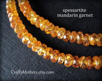 "Last Ones! FANTA ORANGE Spessartite Garnet Faceted Rondelles, 2.5-2.9mm, 2"" strand, Mandarin Garnet, Padparadscha, rare natural gemstones"
