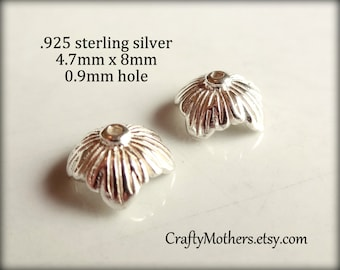 27% SALE! (Code: 27OFF20) TWO Bali Sterling Silver Flower or Leaf Bead Caps, 4.7mm x 8mm, 0.9mm hole (bright), Artisan-made