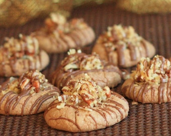 German Chocolate and Coffee Thumbprint Cookies - Baker's Dozen
