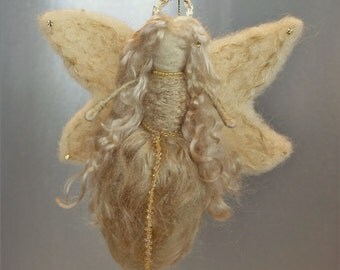 Gold Angel - Needle felted Guardian Angel made of all gold colored materials - made to order