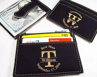 2 Personalized Leather Money Clips Engraved Groomsman Groomsmen Best Man Money Clip Custom Wedding Party Gift Last Initial BLACK