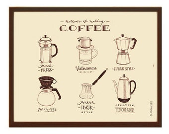 Vintage Style Illustration, Guide to Coffee, Illustrated Guide, Coffee Lovers Gift, Illustration Art Print, Calligraphy, Cafe Art, Diner Art