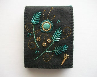 Needle Book Black Felt Needle Keeper with Bead Embroidery and Swirls Hand Embroidered Handsewn