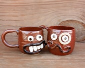 His Hers VALENTINES DAY Matching Coffee Cups. Set of Red Brown Face Mugs. Mr Mrs Couples Gift Set. Funny Opposite Attract Funky Mugs Pair.