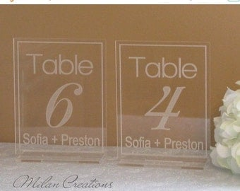 ON SALE Acrylic Engraved Table Numbers for Wedding Reception 1-99