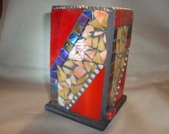 MOSAIC PENCIL HOLDER, Desk, Home Decor, Artist's Paint Brush Holder, Red, Tan, Glass Mosaic