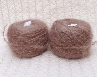 combed Mohair yarn Hand dyed brown tone - waldorf doll hair.