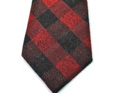 Red and Black Flannel Plaid Neckties -  Buffalo Plaid Neckties Cotton Neckties Custom Neckties Groomsmen Neckties Red Buffalo Plaid Neckties