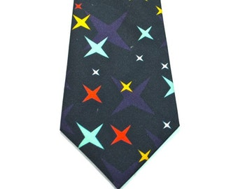 Navy Rocket Dog Neckties Midcentury Neckties Star Neckties Custom Neckties  Cotton Neckties Navy Blue Neckties