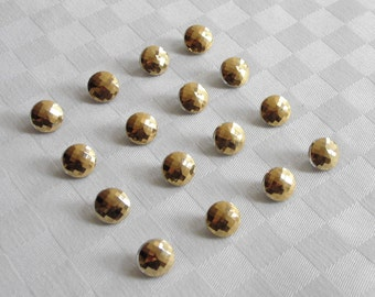 16  beautiful faceted  glass buttons -  with fine golden surfaces - (11 mm - 7/16 in.) -