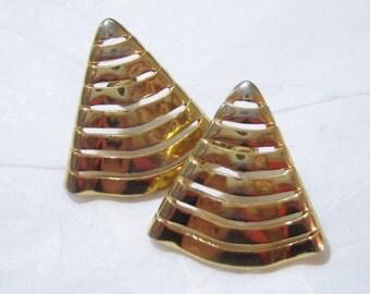 pierced earrings, gold tone triangle pierced earrings 1215E
