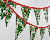 Christmas Bunting Flags / Holly Berries Bunting Flags / XMas Pennant Flags