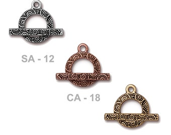 TierraCast Spiral Toggle Clasp - pewter with antiqued finish - choose from silver, copper or gold