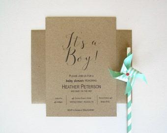 Its a Boy or Girl Baby Shower Invitation on Brown Kraft Simple Elegant Rustic Design Set of 25 with Envelopes