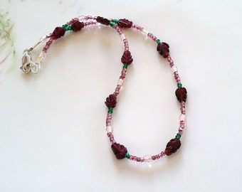 Vintage Pink Seed Bead, Carved Garnet and Tourmaline Anklet