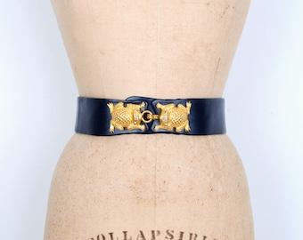 Vintage 1980s Belt / 80s Judith Leiber Adjustable Leather Frog Clasp Belt / Navy Blue and Gold (S M L)