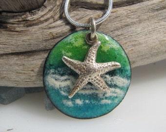 Ocean Enamel Pendant Copper Disk Enamel Jewelry