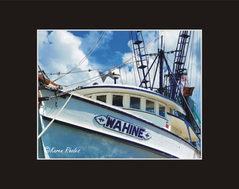 Wahine Trawler Ocracoke harbor Photographic Print matted in black North Carolina